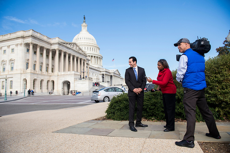 UNITED STATES - NOVEMBER 15: Rep.-elect Ruben Kihuen, D-Nev., does an interview with Noticias Telemundo following the 115th Congress freshman class group photo on the House steps of the U.S. Capitol during orientation week in Washington on Tuesday, Nov. 15, 2016. (Photo By Bill Clark/CQ Roll Call)