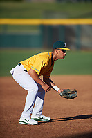 AZL Athletics Gold third baseman T.J. Schofield-Sam (37) during an Arizona League game against the AZL Rangers on July 15, 2019 at Hohokam Stadium in Mesa, Arizona. The AZL Athletics Gold defeated the AZL Athletics Gold 9-8 in 11 innings. (Zachary Lucy/Four Seam Images)