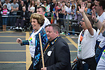 "© Joel Goodman - 07973 332324 . 23/08/2014 .  Manchester , UK . Edwina Currie leading the LGBT Tory section . The parade through Manchester City Centre . Manchester Pride "" Big Weekend "" in Manchester "" today ( 23rd August 2014 ) . Photo credit : Joel Goodman"