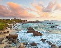 Virgin Gorda, British Virgin Islands, Caribbean<br /> Evening light on the beach of Little Trunk Bay near the Baths