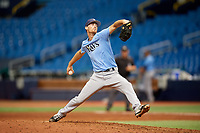 Tanner Dodson (6) delivers a pitch during the Tampa Bay Rays Instructional League Intrasquad World Series game on October 3, 2018 at the Tropicana Field in St. Petersburg, Florida.  (Mike Janes/Four Seam Images)