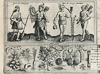 Detail of Indian tribes and local flora, from a map of the voyages of Samuel de Champlain, 1613 edition, from the Archives of the Quebec Seminary, in the Musee de la Civilisation, or Museum of Civilisation, Quebec City, Quebec, Canada. The Historic District of Old Quebec is listed as a UNESCO World Heritage Site. Picture by Manuel Cohen