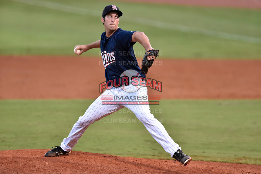 Elizabethton Twins starting pitcher Alex Schick (38) delivers a pitch during game against the Burlington Royals at Joe O'Brien Field on August 24, 2016 in Elizabethton, Tennessee. The Royals defeated the Twins 8-3. (Tony Farlow/Four Seam Images)