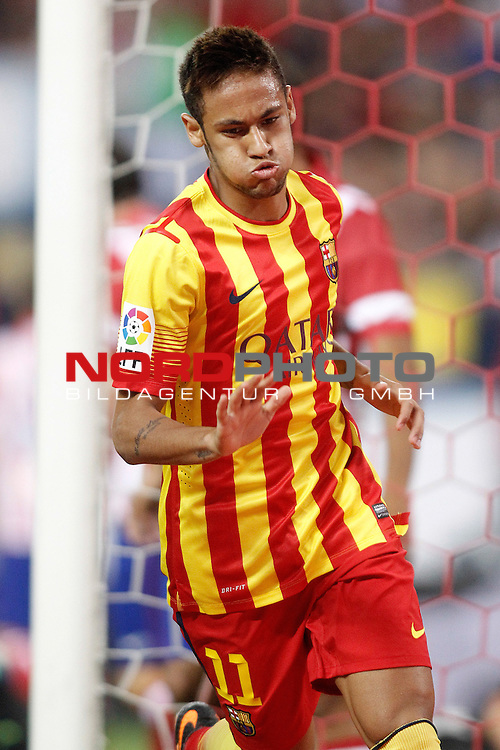 FC Barcelona's Neymar Santos Jr celebrates goal during Supercup of Spain 1st match.August 21,2013. Foto © nph / Acero)