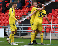 Fleetwood Town's James Wallace celebrates scoring his side's second goal with Paddy Madden<br /> <br /> Photographer David Shipman/CameraSport<br /> <br /> The EFL Sky Bet League One - Doncaster Rovers v Fleetwood Town - Saturday 6th October 2018 - Keepmoat Stadium - Doncaster<br /> <br /> World Copyright &copy; 2018 CameraSport. All rights reserved. 43 Linden Ave. Countesthorpe. Leicester. England. LE8 5PG - Tel: +44 (0) 116 277 4147 - admin@camerasport.com - www.camerasport.com