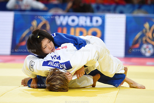 (T-B), Misato Nakamura (JPN), Natalia Kuziutina (RUS), AUGUST 25, 2015 - Judo : World Judo Championships Astana 2015 Women's -52kg quarterfinal at Alau Ice Palace in Astana, Kazakhstan. (Photo by AFLO SPORT)