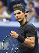 8th September 2017, Flushing Meadows, New York, USA;   Rafael Nadal (ESP) in action during his men's singles semi-final at the US Open on September 08, 2017 at the Billie Jean King National Tennis Center in Flushing Meadow, NY.