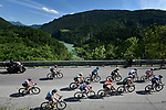 The breakaway group in action during Stage 19 of the 2019 Giro d'Italia, running 151km from Treviso to San Martino di Castrozza, Italy. 31st May 2019<br /> Picture: Fabio Ferrari/LaPresse | Cyclefile<br /> <br /> All photos usage must carry mandatory copyright credit (© Cyclefile | Fabio Ferrari/LaPresse)