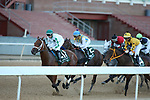 May 2, 2020: The start of the 2nd division of the Arkansas Derby, Wells Bayou (11) with jockey Florent Geroux aboard jumping out in front early at Oaklawn Racing Casino Resort in Hot Springs, Arkansas on May 2, 2020. Justin Manning/Eclipse Sportswire/CSM