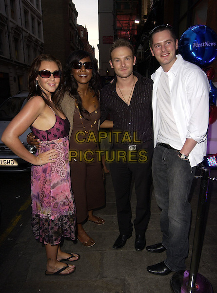 LIBERTY X - MICHELLE HEATON, KELLI YOUNG, KEVIN SIMM & TONY LUNDON.First News - launch party at Fire & Stone, Covent Garden, London, UK..May 4th, 2006.Ref: CAN.full length black purple dress sunglasses shades brown.www.capitalpictures.com.sales@capitalpictures.com.©Capital Pictures