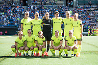 Seattle, WA - Sunday April 17, 2016: Seattle Reign FC Starting XI. Sky Blue FC defeated the Seattle Reign FC 2-1during a National Women's Soccer League (NWSL) match at Memorial Stadium.