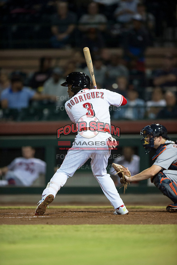 Scottsdale Scorpions shortstop Alfredo Rodriguez (3), of the Cincinnati Reds organization, at bat during an Arizona Fall League game against the Mesa Solar Sox on October 9, 2018 at Scottsdale Stadium in Scottsdale, Arizona. The Solar Sox defeated the Scorpions 4-3. (Zachary Lucy/Four Seam Images)