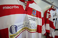 Kingstonian shirt hangs in the dressing room during Macclesfield Town vs Kingstonian, Emirates FA Cup Football at the Moss Rose Stadium on 10th November 2019