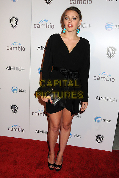 """Aimee Teegarden.""""Aim High"""" Los Angeles Premiere held at Trousdale, West Hollywood, California, USA..October 18th, 2011.full length dress clutch bag wrap ribbon waist black turquoise gold circle disc dangling earrings  .CAP/ADM/BP.©Byron Purvis/AdMedia/Capital Pictures."""