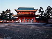 The main entrance to the inner shrine, Heian Shrine, Kyoto, Japan; eary morning