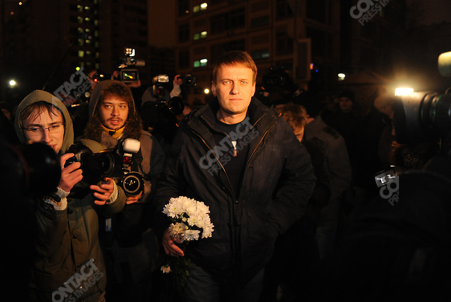 Alexander Navalny, the Russian activist and blogger, was released in the early hours of the morning from prison after a two week sentence. Moscow, Russia, December 21, 2011