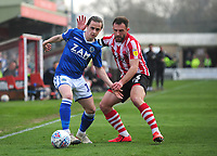 Lincoln City's Neal Eardley battles with Macclesfield Town's Ben Stephens<br /> <br /> Photographer Andrew Vaughan/CameraSport<br /> <br /> The EFL Sky Bet League Two - Lincoln City v Macclesfield Town - Saturday 30th March 2019 - Sincil Bank - Lincoln<br /> <br /> World Copyright © 2019 CameraSport. All rights reserved. 43 Linden Ave. Countesthorpe. Leicester. England. LE8 5PG - Tel: +44 (0) 116 277 4147 - admin@camerasport.com - www.camerasport.com