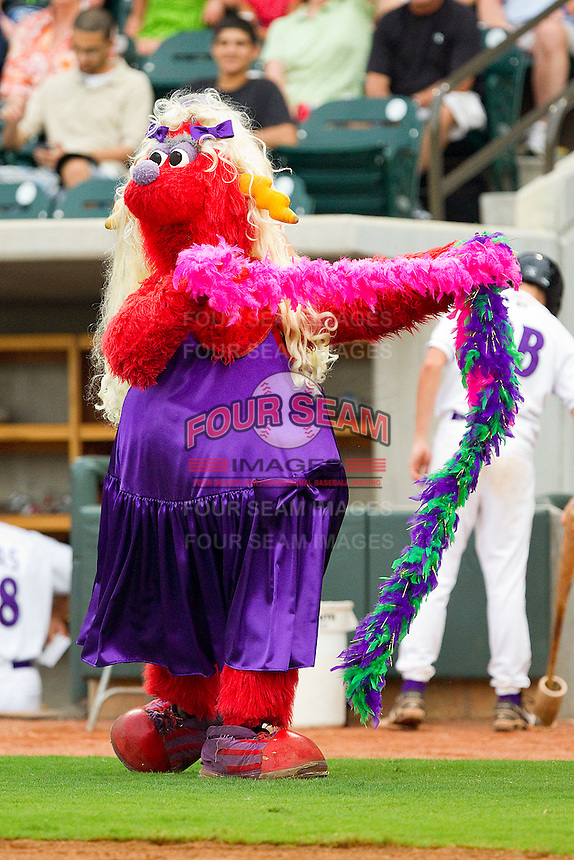 Winston-Salem Dash mascot Bolt entertains the crowd between innings of the Carolina League game between the Frederick Keys and the Winston-Salem Dash at BB&T Ballpark on August 5, 2011 in Winston-Salem, North Carolina.  The Dash defeated the Keys 10-0.   Brian Westerholt / Four Seam Images