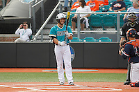 University of Coastal Carolina Chanticleers first baseman Tyler Chadwick (8) at bat during a game against the University of Virginia Cavaliers at Springs Brooks Stadium on February 21, 2016 in Conway, South Carolina. Coastal Carolina defeated Virginia 5-4. (Robert Gurganus/Four Seam Images)