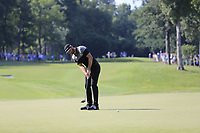 Dustin Johnson (USA) putts on the 14th green during Thursday's Round 1 of the 2017 PGA Championship held at Quail Hollow Golf Club, Charlotte, North Carolina, USA. 10th August 2017.<br /> Picture: Eoin Clarke | Golffile<br /> <br /> <br /> All photos usage must carry mandatory copyright credit (&copy; Golffile | Eoin Clarke)