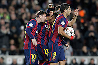 FC Barcelona's Leo Messi, Neymar Jr and Luis Suarez celebrate goal during Champions League 2014/2015 match.December 10,2014. (ALTERPHOTOS/Acero) /NortePhoto