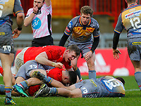 29th February 2020; Thomond Park, Limerick, Munster, Ireland; Guinness Pro 14 Rugby, Munster versus Scarlets; Jack O'Sullivan of Munster goes over to score the opening try