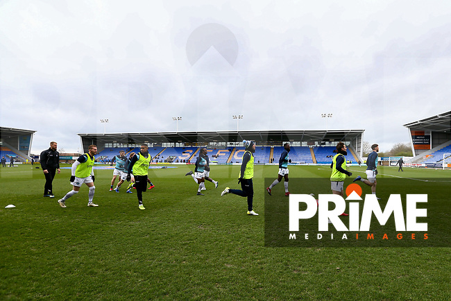 Wycombe Players warming up before the Sky Bet League 1 match between Shrewsbury Town and Wycombe Wanderers at Greenhous Meadow, Shrewsbury, England on 16 March 2019. Photo by Leila Coker / PRiME Media Images.