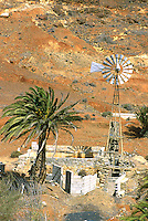 Abandoned building and windmill Fuerteventura,Canary Islands.