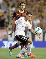 Valencia's Helder Postiga (r) and FC Barcelona's Sergio Busquets during La Liga match.September 1,2013. (ALTERPHOTOS/Acero) <br /> Football Calcio 2013/2014<br /> La Liga Spagna<br /> Foto Alterphotos / Insidefoto <br /> ITALY ONLY
