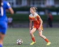 Allston, Massachusetts - August 16, 2017:  In a National Women's Soccer League (NWSL) match, Houston Dash  (orange) defeated Boston Breakers (blue), 3-1, at Jordan Field.