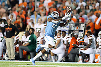 CHAPEL HILL, NC - SEPTEMBER 07: Dyami Brown #2 of the University of North Carolina catches a touchdown pass during a game between University of Miami and University of North Carolina at Kenan Memorial Stadium on September 07, 2019 in Chapel Hill, North Carolina.