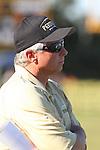 Palos Verdes, CA 11/12/10 - Coach Larry Olson in action during the Palos Verdes - Peninsula varsity football game at Peninsula High School.