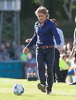 Wycombe Wanderers Manager Gareth Ainsworth kicks the ball during the Sky Bet League 2 match between Wycombe Wanderers and Plymouth Argyle at Adams Park, High Wycombe, England on 12 September 2015. Photo by Andy Rowland.