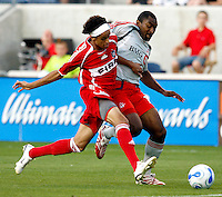 Chicago Fire forward Calen Carr (3) and Toronto FC midfielder Marvell Wynne (16) battle for the ball.  The Chicago Fire tied Toronto FC 1-1 at Toyota Park in Bridgeview, IL on July 7, 2007.
