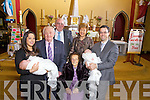 Sister and brother Alma Finnucane(left) and Owen O'Connor(right) from Athea celebrated a joint christening with their sons Rory and Oscar, pictured here with all four generations last Saturday in St Bartholomew's Church, Athea, centre was Joseph O'Connor, Jeremiah and Marian O'Connor and Mary Dalton(seated).