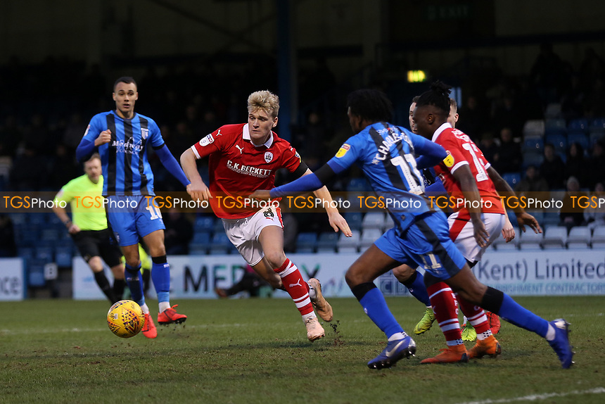 Cameron McGeehan of Barnsley takes on the Gillingham defence during Gillingham vs Barnsley, Sky Bet EFL League 1 Football at The Medway Priestfield Stadium on 9th February 2019