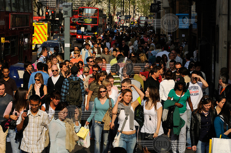 Shopping crowds on London's Oxford Street.