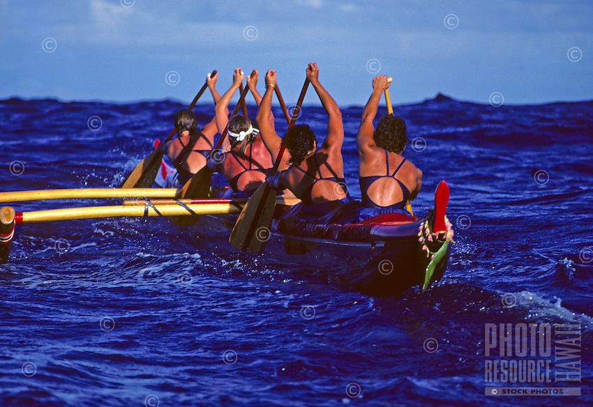 Outrigger Canoe Club Women's team, Women's Molokai to Oahu canoe race; offshore Ka Iwi, Oahu.