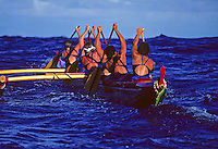 Outrigger Canoe Club Women's team, Women's Molokai to Oahu canoe race; offshore Ka Iwi, Oahu.