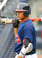 23 April 2007: Diory Hernandez of the Mississippi Braves, the Atlanta Braves' Class AA affiliate of the Southern League, in a game against the Birmingham Barons at Trustmark Park in Pearl, Miss. Photo by:  Tom Priddy/Four Seam Images