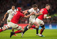 Englands' George Ford evades the tackle of Wales' Cory Hill<br /> <br /> Photographer Bob Bradford/CameraSport<br /> <br /> NatWest Six Nations Championship - England v Wales - Saturday 10th February 2018 - Twickenham Stadium - London<br /> <br /> World Copyright &copy; 2018 CameraSport. All rights reserved. 43 Linden Ave. Countesthorpe. Leicester. England. LE8 5PG - Tel: +44 (0) 116 277 4147 - admin@camerasport.com - www.camerasport.com
