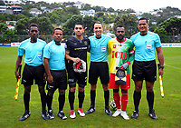 Team captains and Match officials before the 2018 OFC Champions League Quarterfinal between Team Wellington and Lae City Dwellers FC at David Farrington Park in Wellington, New Zealand on Saturday, 7 April 2018. Photo: Dave Lintott / lintottphoto.co.nz