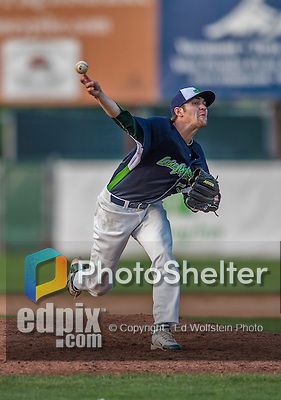 12 July 2015: Vermont Lake Monsters pitcher James Naile on the mound against the West Virginia Black Bears at Centennial Field in Burlington, Vermont. Naile earned the save as the Lake Monsters came back from a 4-0 deficit to defeat the Black Bears 5-4 in NY Penn League action. Mandatory Credit: Ed Wolfstein Photo *** RAW Image File Available ****