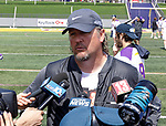 Albany coach Scott Marr in post game interviews as UAlbany Lacrosse defeats Vermont 14-4  in the American East Conference Championship game at Casey Stadium, May 5.