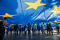 Rome, Italy, March 25,2017. Thousands of supporters of European Union gathered in Rome after the EU summit to celebrate the 60th anniversary of the Treaties of Rome.