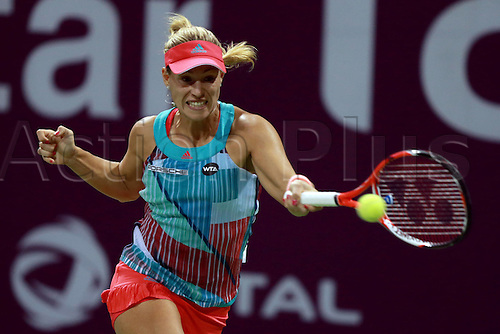 23.02.2016. Doha, Qatar. Qatar Total Open championships.  Angelique Kerber of Germany competes during her womens singles second round match against Zheng Saisai of China at the WTA Tennis Damen Qatar Open 2016 in Doha, Qatar, Feb. 23, 2016. Kerber lost 0-2.