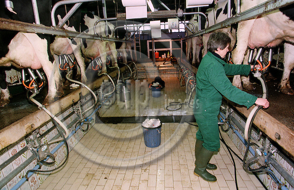 SERANVILLERS - FRANCE - 01 MAY 1996 -- French farm, SAUVAGE family enterprise. Anne SAUVAGE is in charge of the milk production. -- PHOTO: JUHA ROININEN / EUP-IMAGES