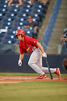 Palm Beach Cardinals left fielder Shane Billings (22) follows through on a swing during a game against the Tampa Yankees on July 25, 2017 at George M. Steinbrenner Field in Tampa, Florida.  Tampa defeated Palm beach 7-6.  (Mike Janes/Four Seam Images)