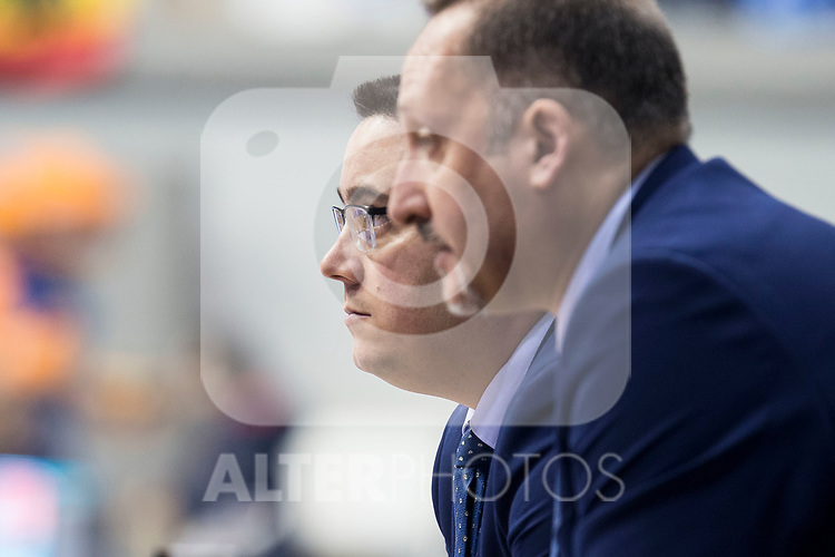 San Pablo Burgos coach Diego Epifanio and assistant coach Alberto Codeso during Liga Endesa match between Real Madrid and Unicaja Malaga at Coliseum Burgos in Burgos , Spain. January 27, 2018. (ALTERPHOTOS/Borja B.Hojas)