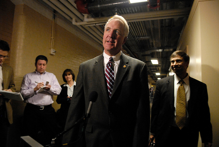 Rep. John Shimkus, R-Ill., chairman of the House Page Board, speaks to the media before a meeting with the House Ethics Committee, to talk about what Shimkus knew about inappropriate behavior by former Rep. Mark Foley.